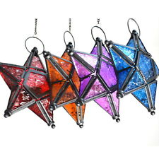 Glass Hanging Five-pointed Star Tea Light Holder Candle Lantern Deco Colorful QW