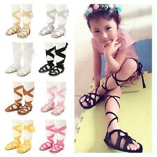 Toddler Baby Girl Bandage Soft Crib Sole Leather Cross-tied Sandals Shoes 0-18M