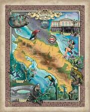 172 Custom map of Costa Rica vintage historic antique map painting poster print