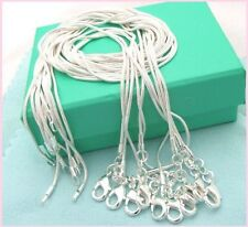 Free shipping wholesale 5PCS sterling solid silver 1MM snake chain XP