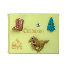 BRAND NEW CLAY CRITTERS MAGNET - STATE - COLORADO w/ Swarovski Crystal Elements