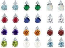 Sterling Silver 7 mm Round Faceted Gemstone Earring With Accents (12 Colors)
