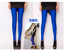 Women Neon Candy Shiny Bright Fluorescent Glow Stretch 17 Colors Leggings Pants
