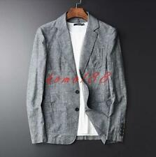 Fashion Mens Lapel Collar Cotton Linen Two Button Blazer Coat Casual suit Jacket