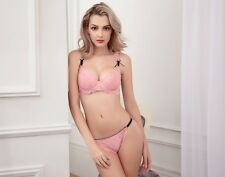 French Women Underwear lingerie Pink Lace Bra Set Sexy Transparent Bra And Panty