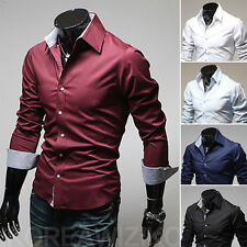 Luxury Men Casual Dress Shirt Long Sleeve Slim Fit Stylish Shirts Button Front r