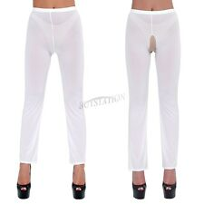 Woman/Ladies Lingerie See-Through Crotchless Long Sheer Trousers Pants Legging