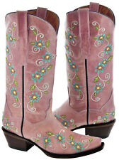Women's Pink Floral Summer Leather Western Cowboy Boots Rhinestones Cowgirl