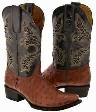 Mens Cognac Brown Square Toe Ostrich Skin Print Western Leather Cowboy Boots