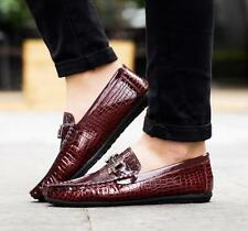 Mens Flat Loafer Crocodile Patent Leather Slip On Shoe Driving Boat Moccasin New