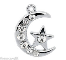 Wholesale Lots Silver Tone Rhinestone Moon  Charm Pendants