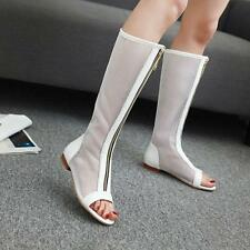 Ladies Peep Toe Hollow Out Mesh Sandal Flat Heel Shoes Knee High Sandals Boots
