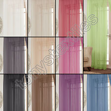 LUCY PLAIN EYELET RING TOP NET VOILE CURTAIN ONE PANEL VARIETY OF COLOURS