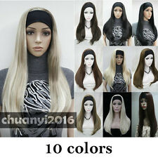 10 Color 3/4 Half Long Straight Women Lady Daily Wigs Headband + Free Wig Cap