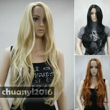 3 colors Middle Part Long Straight Wavy Women Natural Daily wig + free wig cap