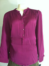 NWT Apt.9 Smocked Henley Blouse Top Purple Women Plus Sz.0X, 1X New