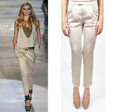 Sz 40 42 44 NEW $850 GUCCI Ivory Silk Skinny FITTED Cropped SLIM TROUSERS PANTS