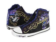 Ed Hardy Authentic Highrise Fashion Sneaker Shoes for Kids Canvas Slip-on Black