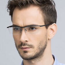 Titanium Men's Nickle Half Rimless Reading Glasses UV400 Coating Lens Reader