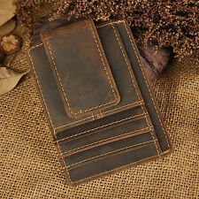 Men Real Leather Front Pocket Wallet Thin Slim Multi Card Case Magic Money Clip