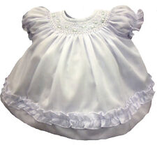 Girls Baby Dress Infant White Smocked Rosettes Dress with Panty NWT Willbeth