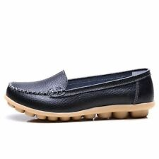 Women Pu Leather Slip-on Flats Comfort Solid Color Office Shoes