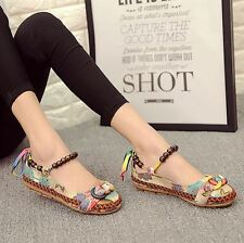 Women Casual Flat Print Handmade Ankle Straps Loafers Embroidered Shoes