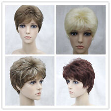 Natural Women blonde, Brown,Short Curly Female Lady Hair Full Wigs + wig cap
