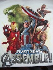 Marvel Avengers Assemble Boys T Shirt White Iron Man Captain America Hulk NWOT