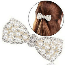 Fashion Women Girl Crystal Bow Hair Clip Hairpin Barrette Pearl Hair Accessories