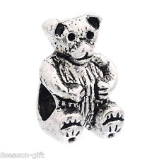 Wholesale Lots Christmas Bear Charm Beads Fit European Charm Bracelets