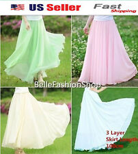 NEW FASHION STYLE SKIRT 3 Layers CHIFFON Long Maxi Elastic Waist Skirt