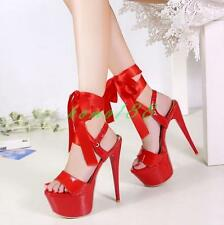 Womens sexy Strappy Platform High slim Heels lace up Party club Sandals Shoes