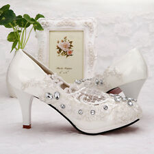 Lace white crystal Wedding shoes Bridal flats low high heel pump size 5-10