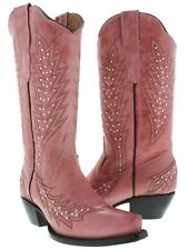 pink silver studs leather cowboy western rodeo boots embroidered ranch