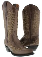 Brown Gold Studs Leather Cowboy Cowgirl Western Rodeo Boots Embroidered Ranch