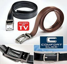 Men NEW COMFORT CLICK Leather Belt for Men Black or Brown As Seen on TV /