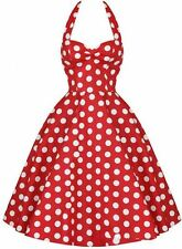 Woman Vintage Polka Dot Backless Sleeveless Polyester Knee Length Dress