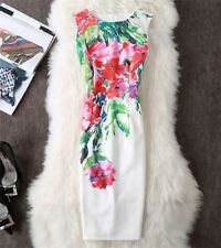 Women Summer Spring New Fashion Sleeveless Printed Pattern Knee-length Dress