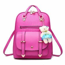 Candy Color PU Leather School Bag Backpack For Teenager Girl