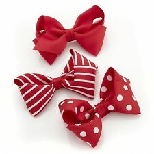 New Ladies Plain Striped Polka Dot Pattern 3 Piece Bow Hair Clip Set Accessories