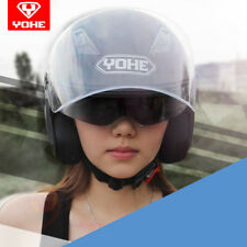 YOHE Motorcycle Scooter Dual Shield Abs Shell 3/4 Open Face Helmet DOT ECE
