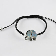 Elephant Micro Pave Beads Copper Braided Adjustable Bracelet Unisex