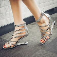 Summer Womens Wedge Heels Roman Gladiator Strappy Leather Buckle Sandals Shoes