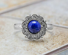 925 Sterling Silver Flower Shape Ring with Blue Lapis Lazuli Gemstone Handmade.
