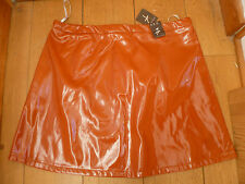 ATMOSPHERE PRIMARK BURNT ORANGE PATENT FAUX LEATHER MINI SKIRT PLEATHER VEGAN