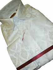 Mens Sangi 1011 Sophisticated Tall High Collar Cuffed Shirt Glossy White Shimmer