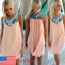 US Women Sleeveless Beach Party Casual Mini Casual Boho Shirt Short Dress Tops