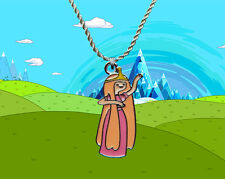 Adventure Time sterling silver / faux leather necklace with Princess Bubblegum