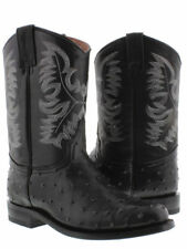 mens black ostrich exotic crocodile western leather cowboy rodeo boots roper toe